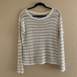 ALICE + OLIVIA Metallic Striped Crew Neck Sweater
